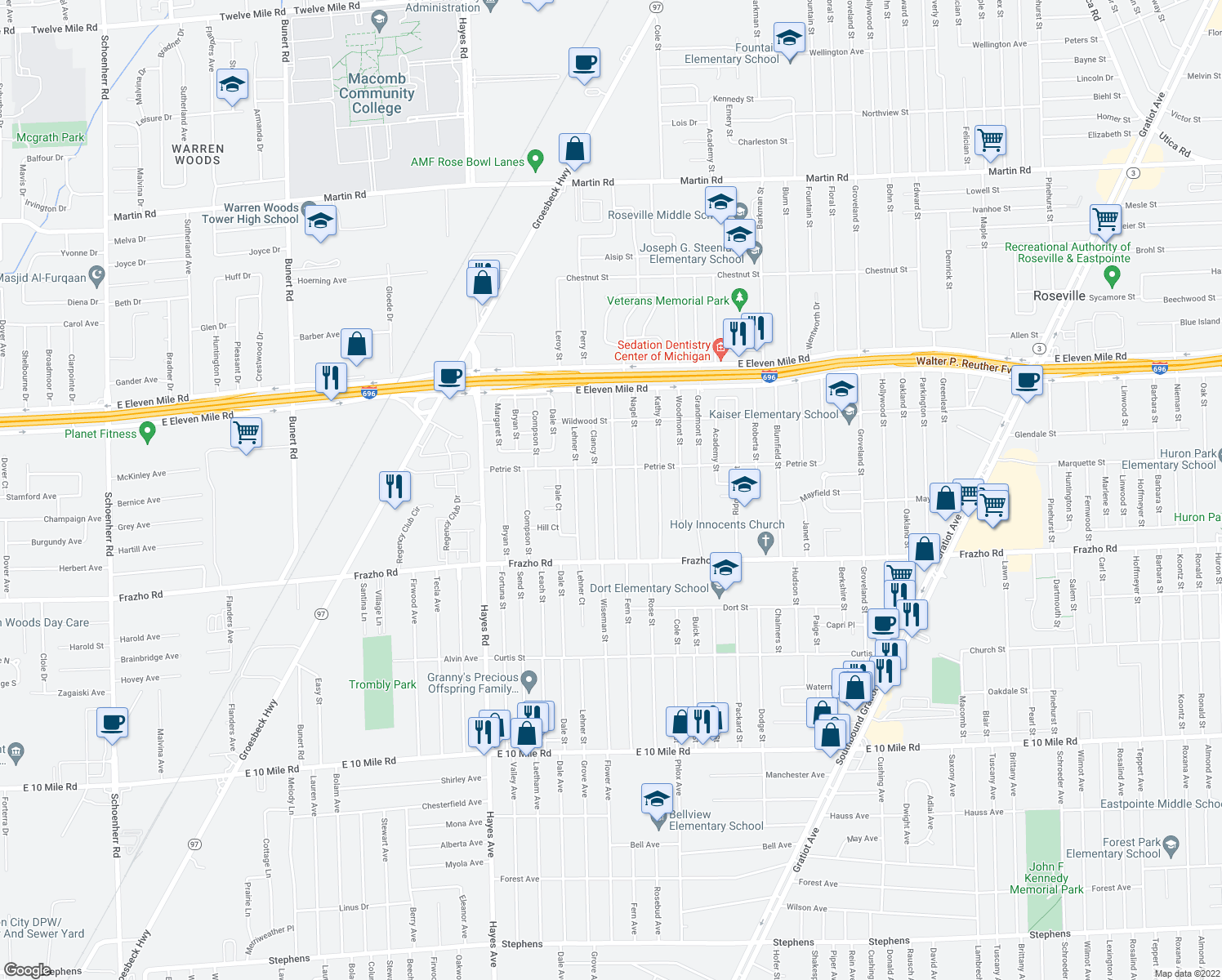 map of restaurants, bars, coffee shops, grocery stores, and more near 26345 Belanger Street in Roseville