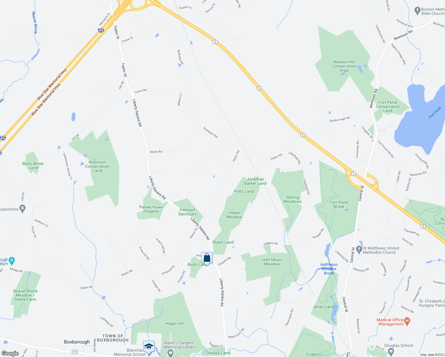 map of restaurants, bars, coffee shops, grocery stores, and more near 333 Depot Road in Boxborough