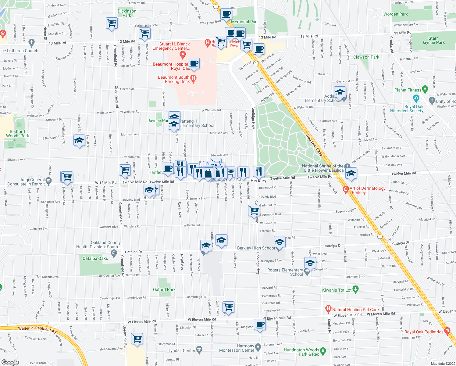 map of restaurants, bars, coffee shops, grocery stores, and more near 12 Mile Rd in Berkley