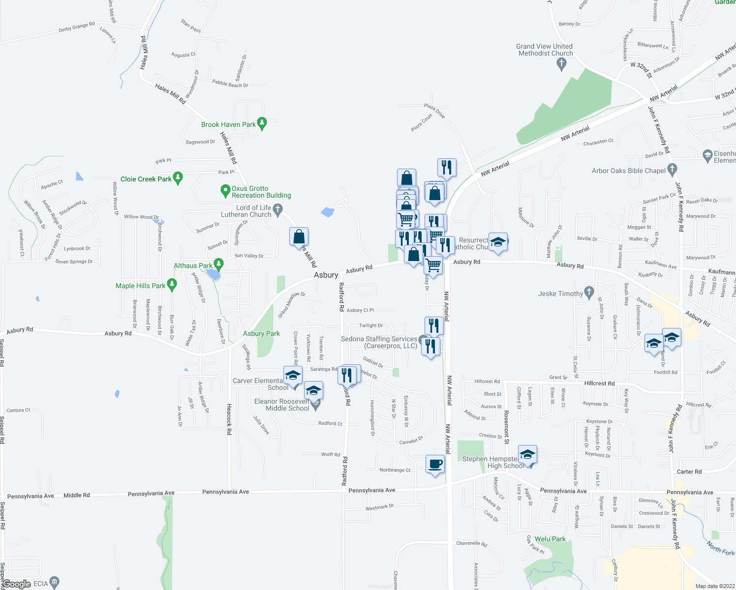 map of restaurants, bars, coffee shops, grocery stores, and more near Asbury Circle in Dubuque
