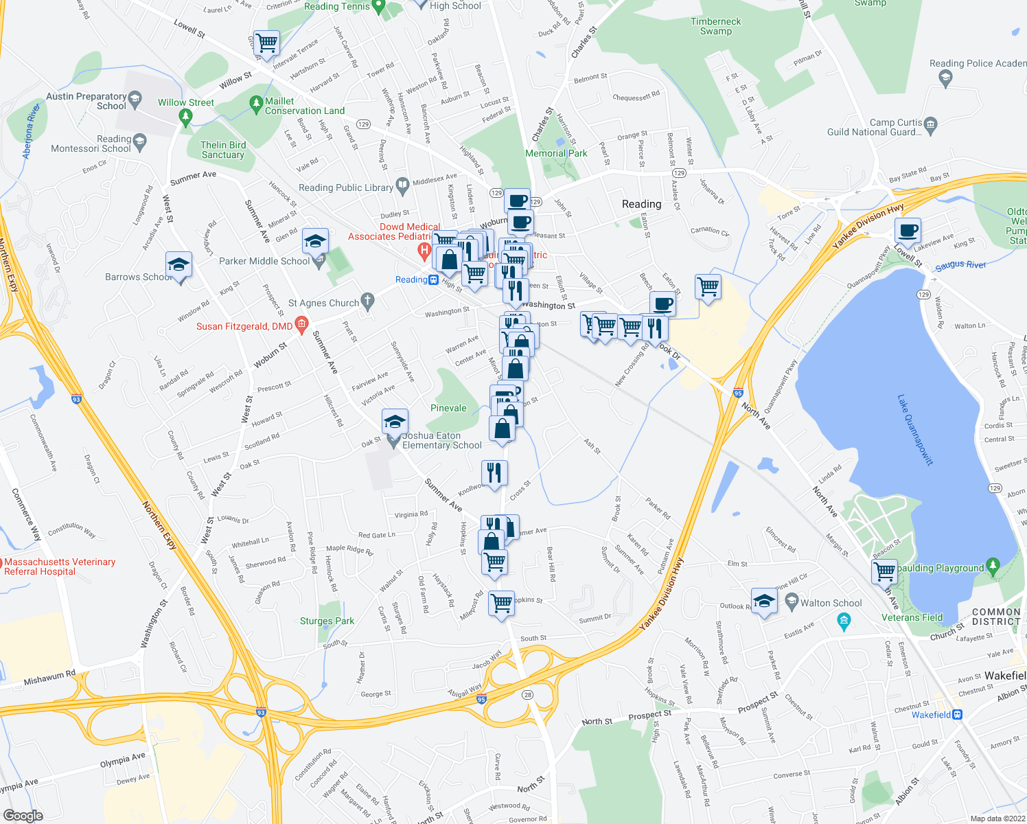 map of restaurants, bars, coffee shops, grocery stores, and more near 295 Main Street in Reading