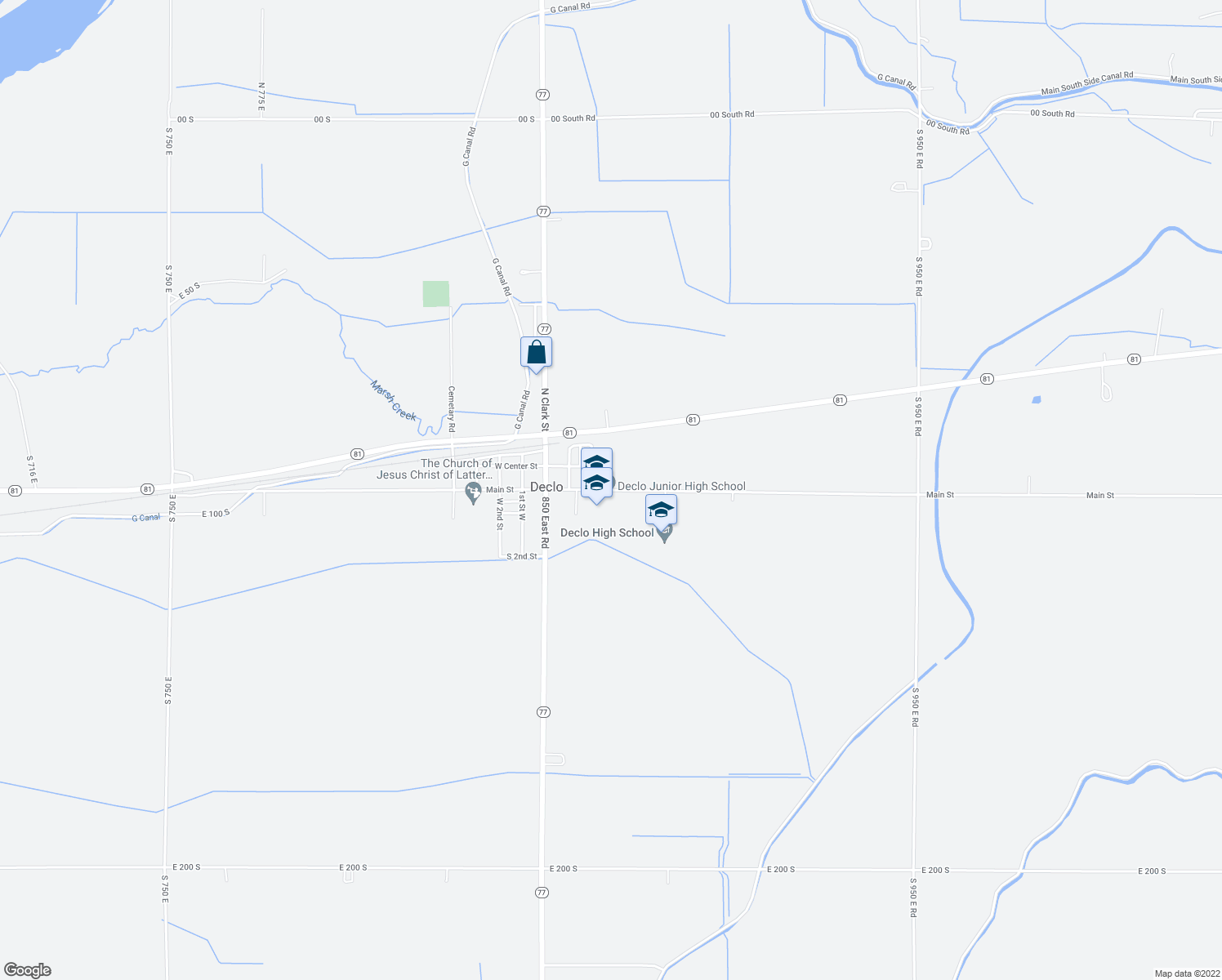 map of restaurants, bars, coffee shops, grocery stores, and more near 205 East Main Street in Declo
