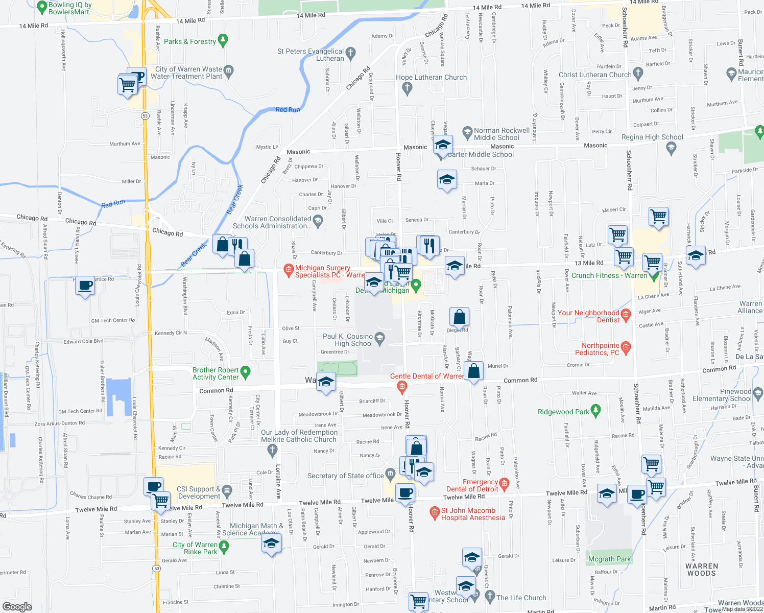 map of restaurants, bars, coffee shops, grocery stores, and more near in Warren