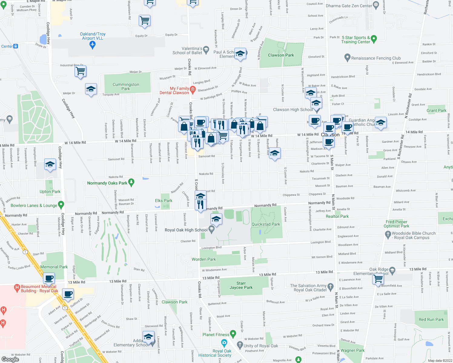 map of restaurants, bars, coffee shops, grocery stores, and more near 555 S Chocolay Ave in Clawson