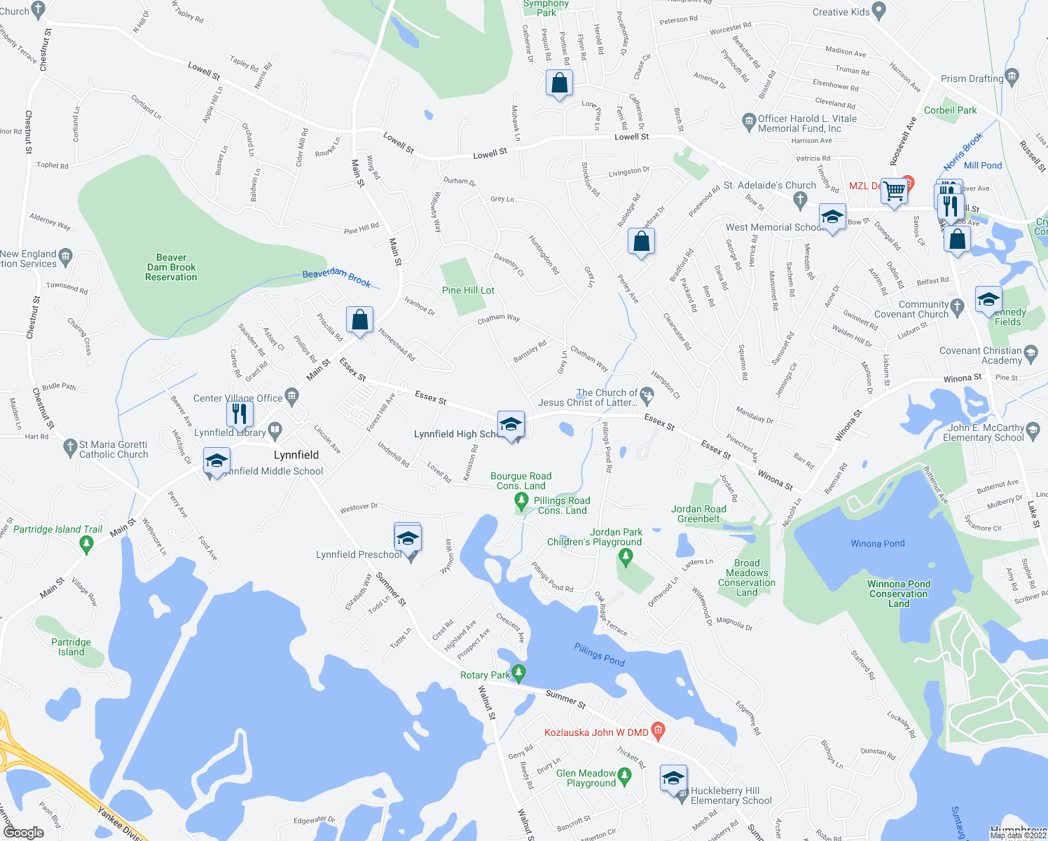 map of restaurants, bars, coffee shops, grocery stores, and more near 257-307 Essex Street in Lynnfield
