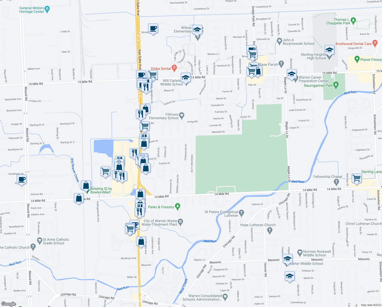 map of restaurants, bars, coffee shops, grocery stores, and more near 33649 Sebastian Lane Drive in Sterling Heights