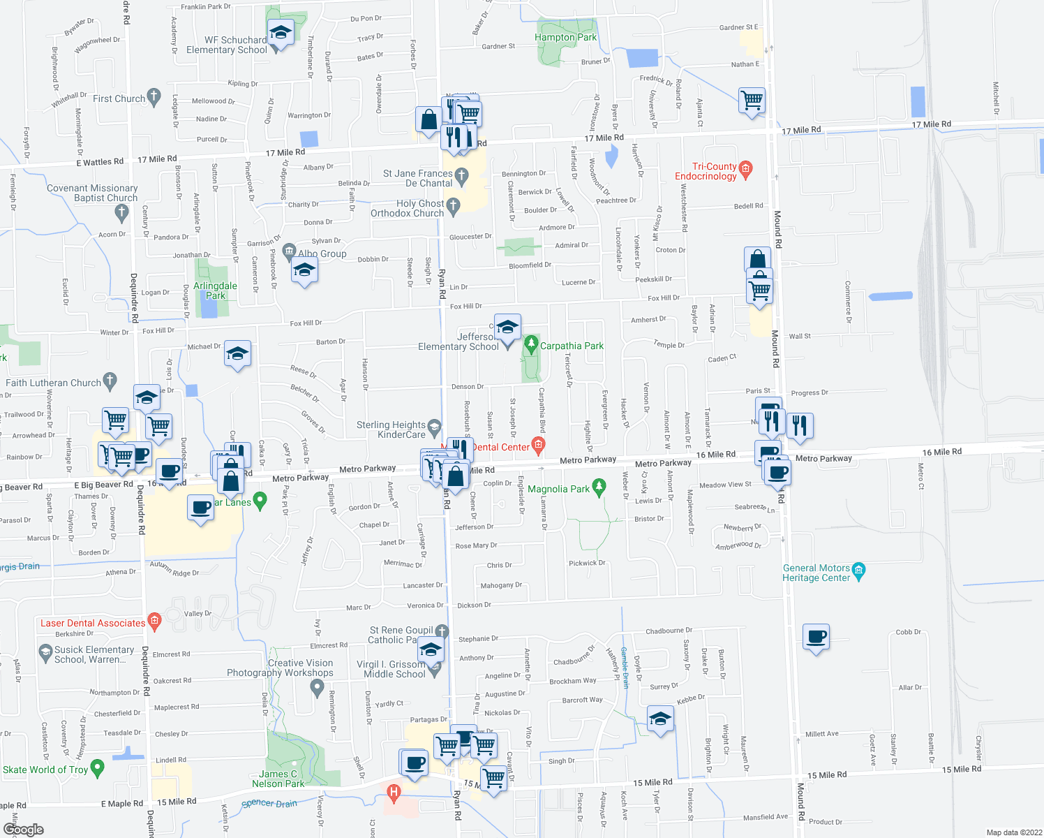 map of restaurants, bars, coffee shops, grocery stores, and more near 37290 Saint Joseph Drive in Sterling Heights