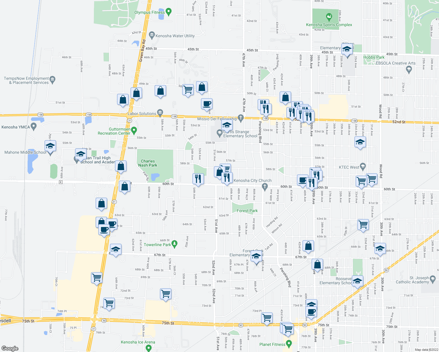 map of restaurants, bars, coffee shops, grocery stores, and more near 5904 50th Avenue in Kenosha
