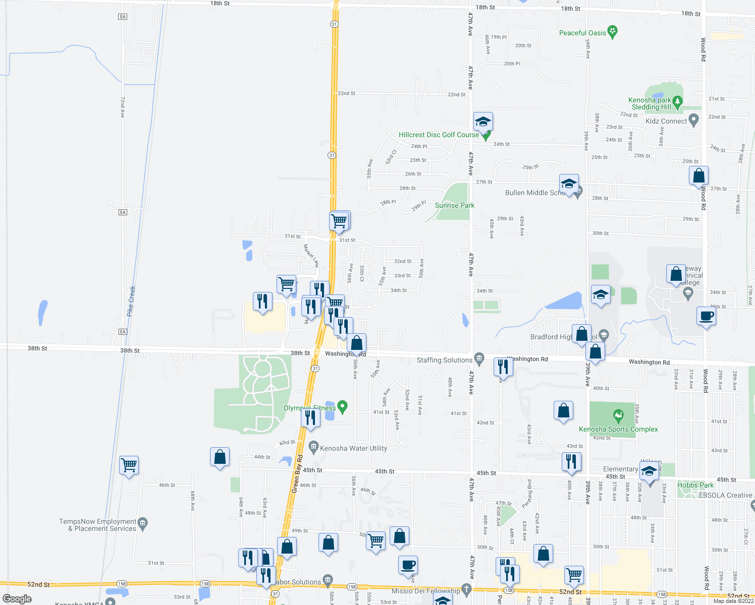 map of restaurants, bars, coffee shops, grocery stores, and more near 5503 35th Ave in Kenosha