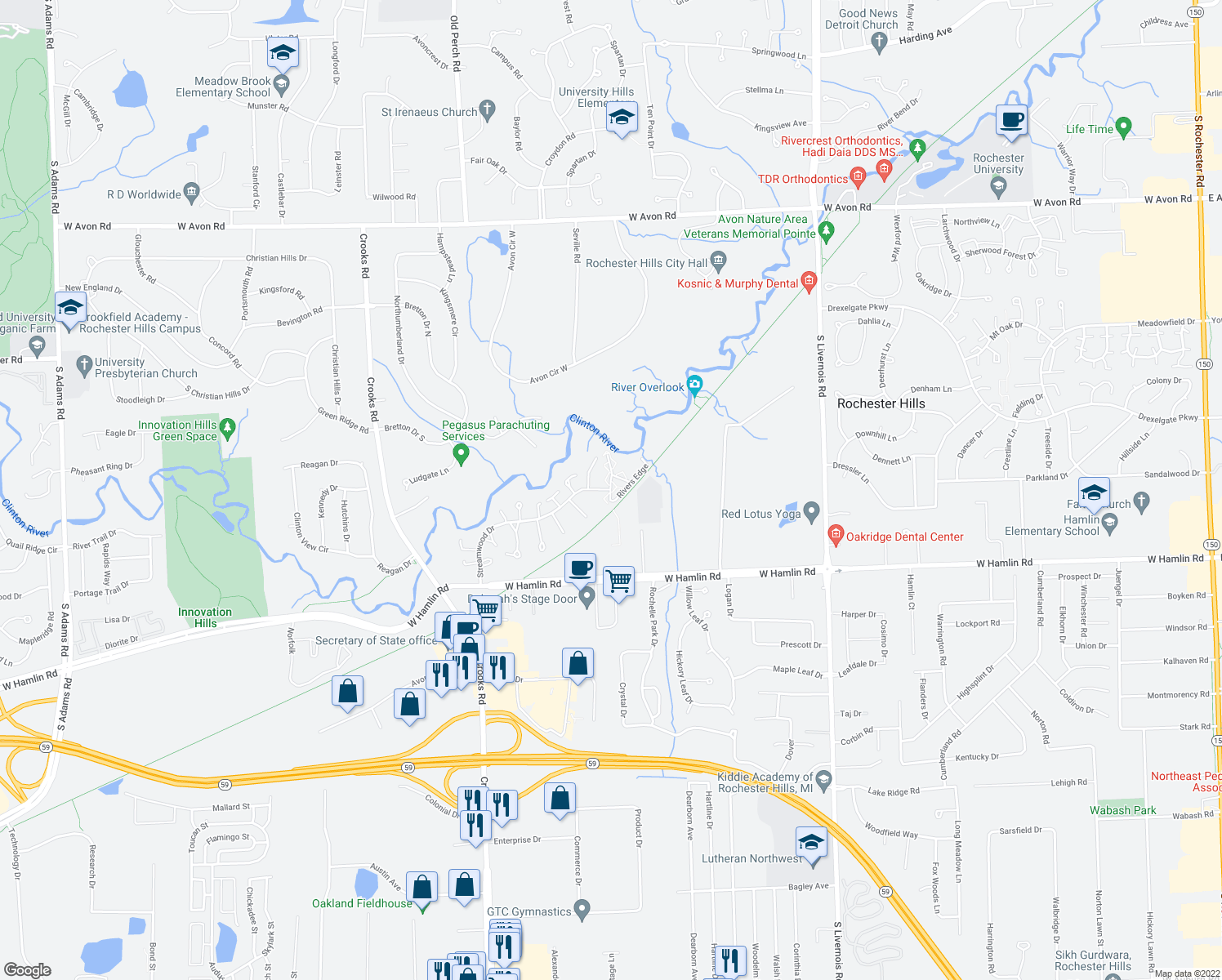 map of restaurants, bars, coffee shops, grocery stores, and more near 1574 Streamwood Court in Rochester Hills