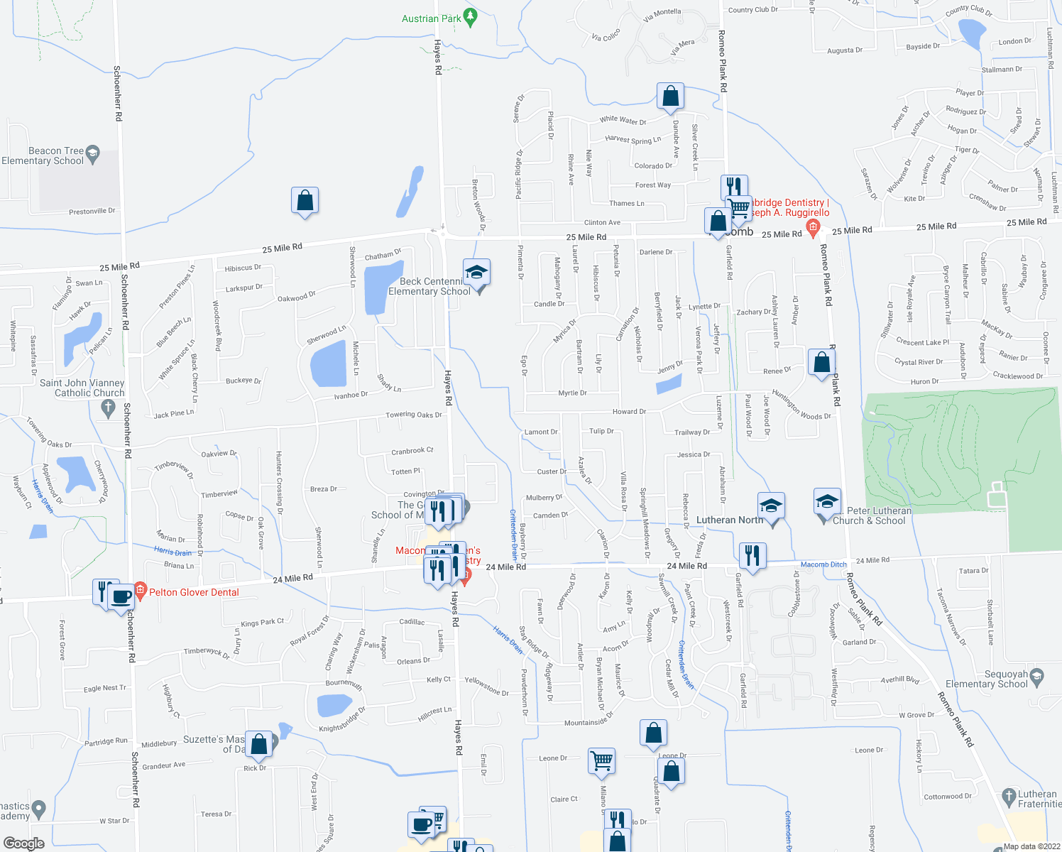 map of restaurants, bars, coffee shops, grocery stores, and more near 15723 Lamont Drive in Macomb