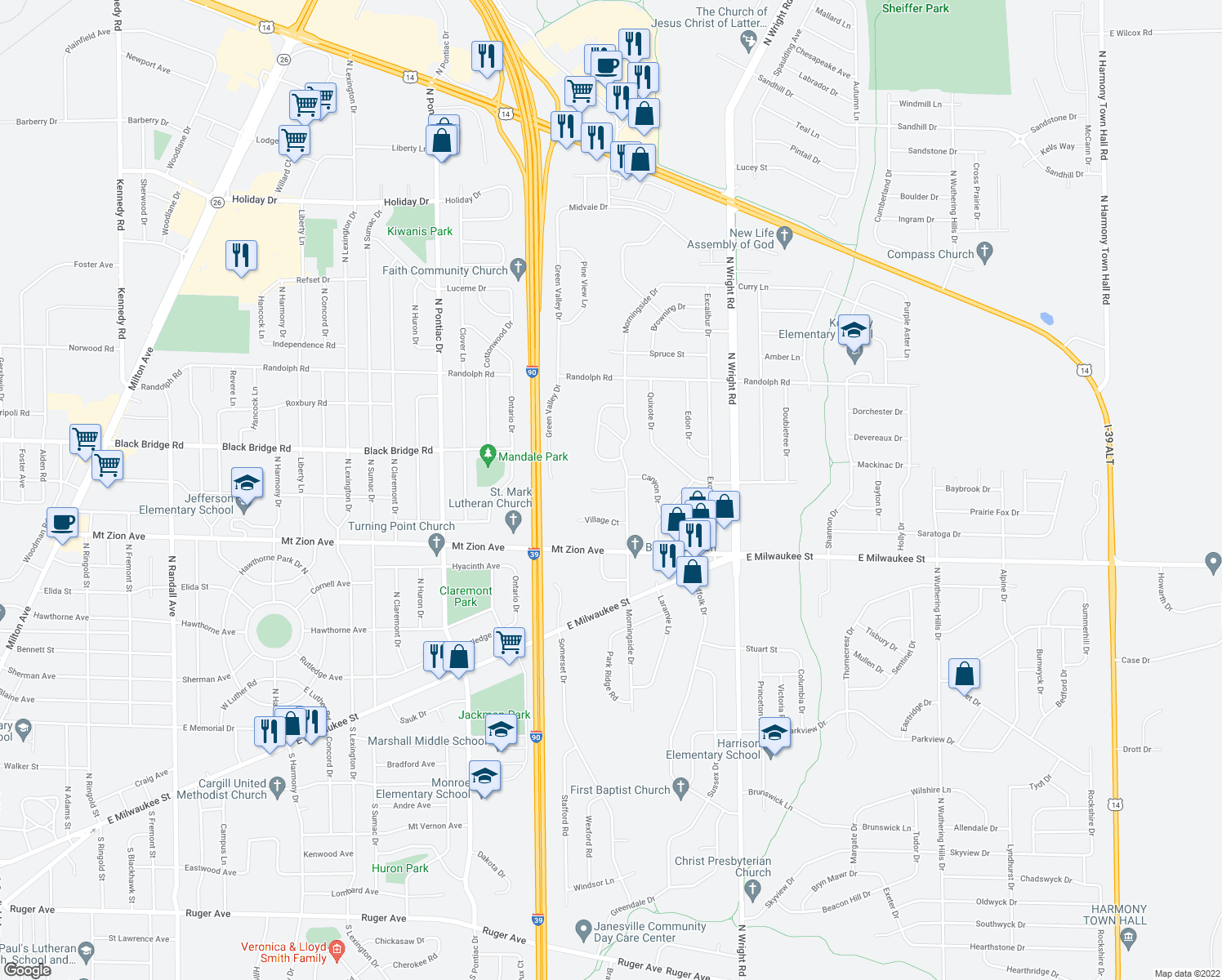 map of restaurants, bars, coffee shops, grocery stores, and more near 3209 Village Court in Janesville