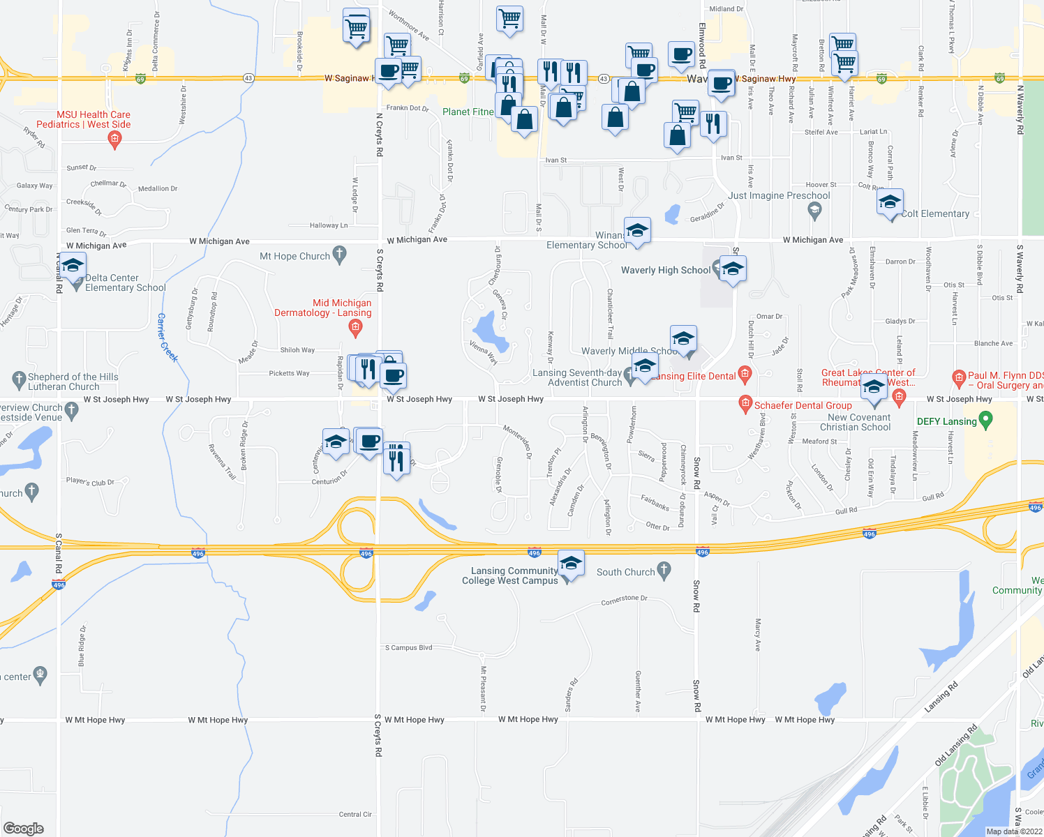map of restaurants, bars, coffee shops, grocery stores, and more near 829 Montevideo Drive in Lansing