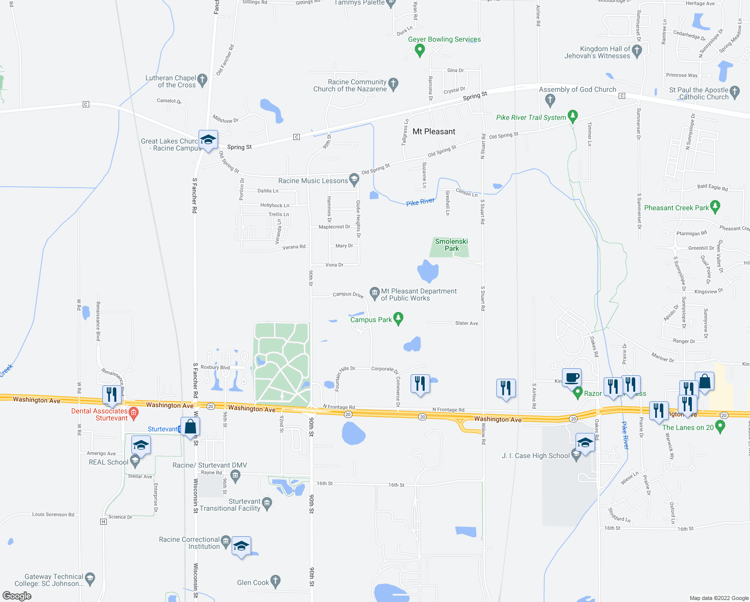 map of restaurants, bars, coffee shops, grocery stores, and more near 8700 Campus Drive in Mount Pleasant