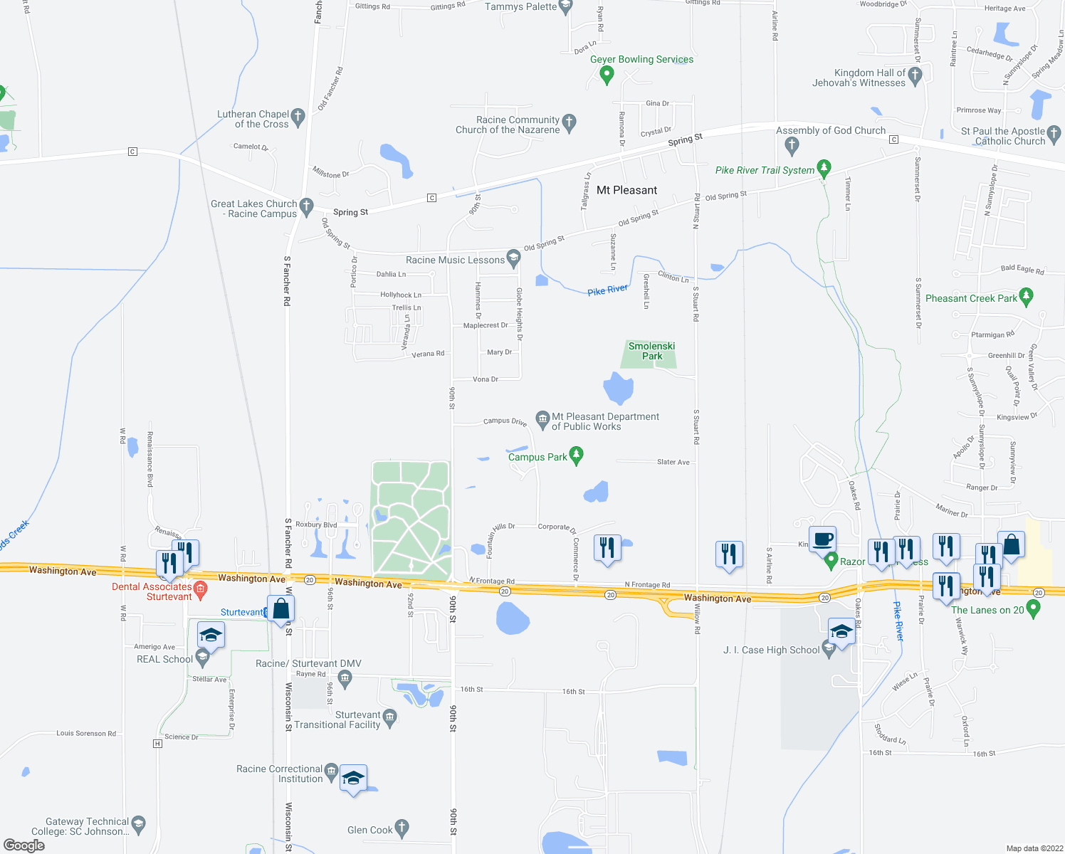 map of restaurants, bars, coffee shops, grocery stores, and more near 8700 Campus Drive in Racine