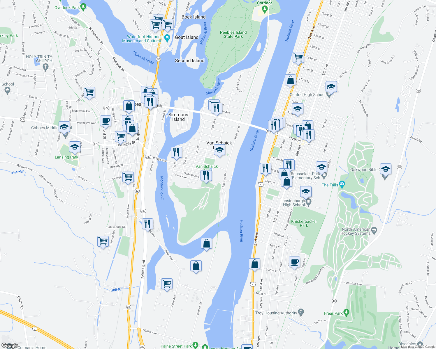 map of restaurants, bars, coffee shops, grocery stores, and more near Hudson Avenue in Cohoes