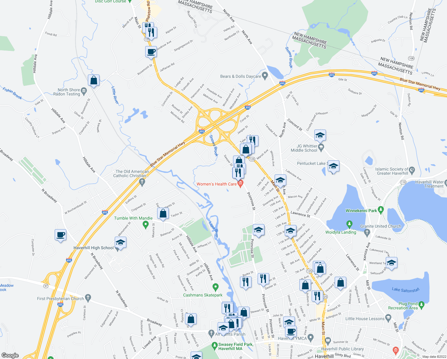 map of restaurants, bars, coffee shops, grocery stores, and more near 10 Primrose Way in Haverhill
