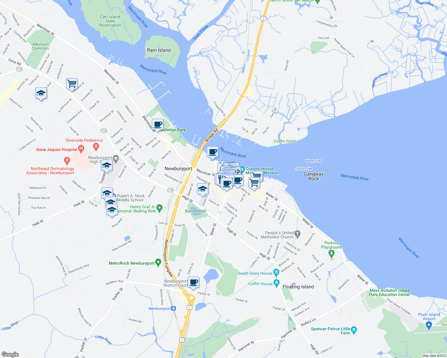 map of restaurants, bars, coffee shops, grocery stores, and more near 1 Merrimac Street in Newburyport