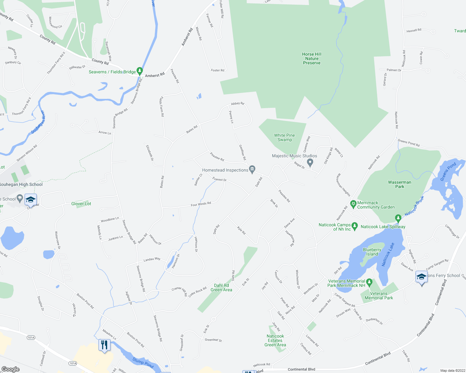 map of restaurants, bars, coffee shops, grocery stores, and more near 6 Everest Drive in Merrimack