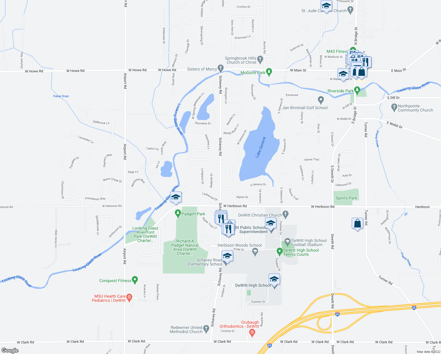 map of restaurants, bars, coffee shops, grocery stores, and more near 1209 Schavey Road in DeWitt