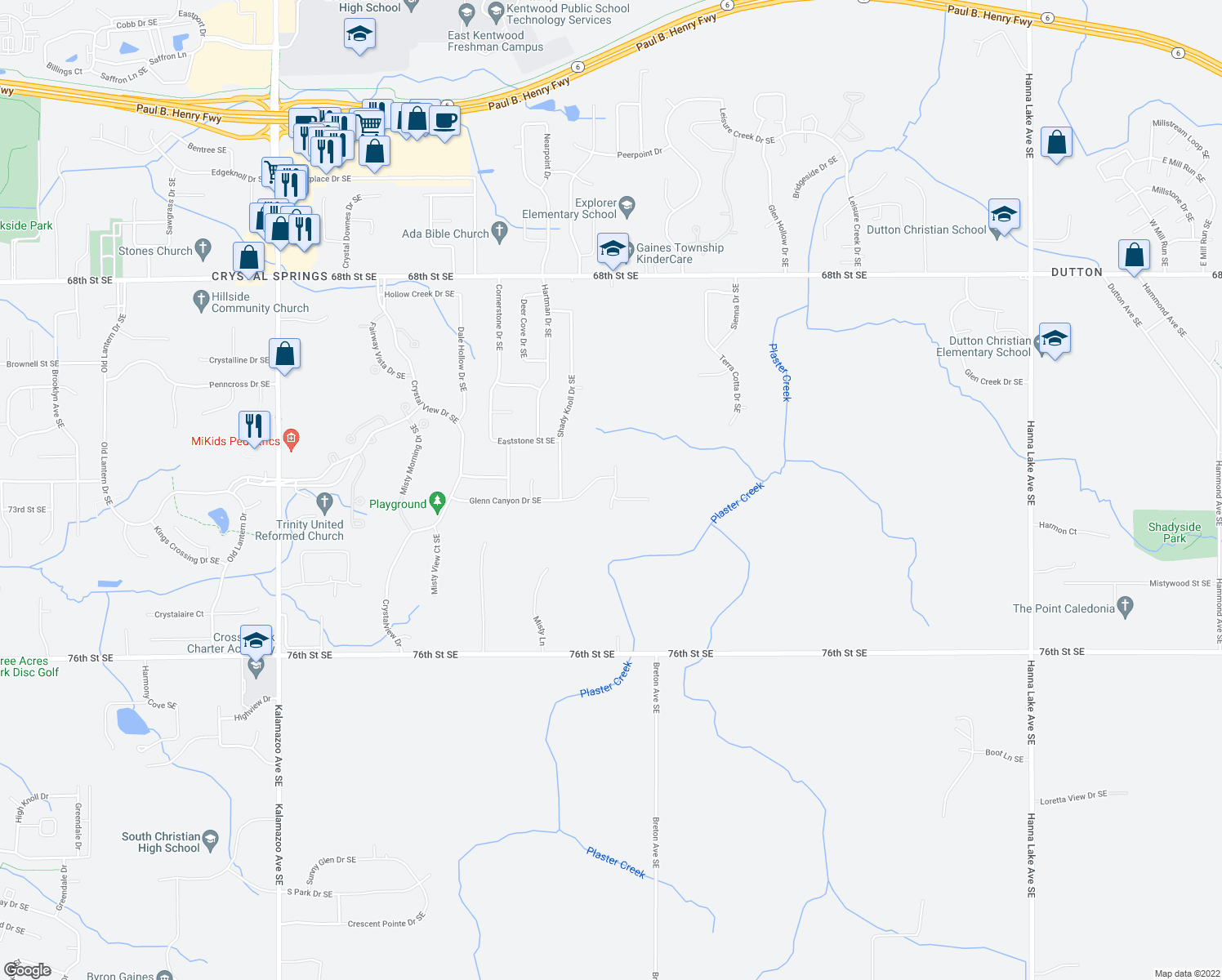 map of restaurants, bars, coffee shops, grocery stores, and more near 7237 Mountain Knoll Avenue Southeast in Caledonia