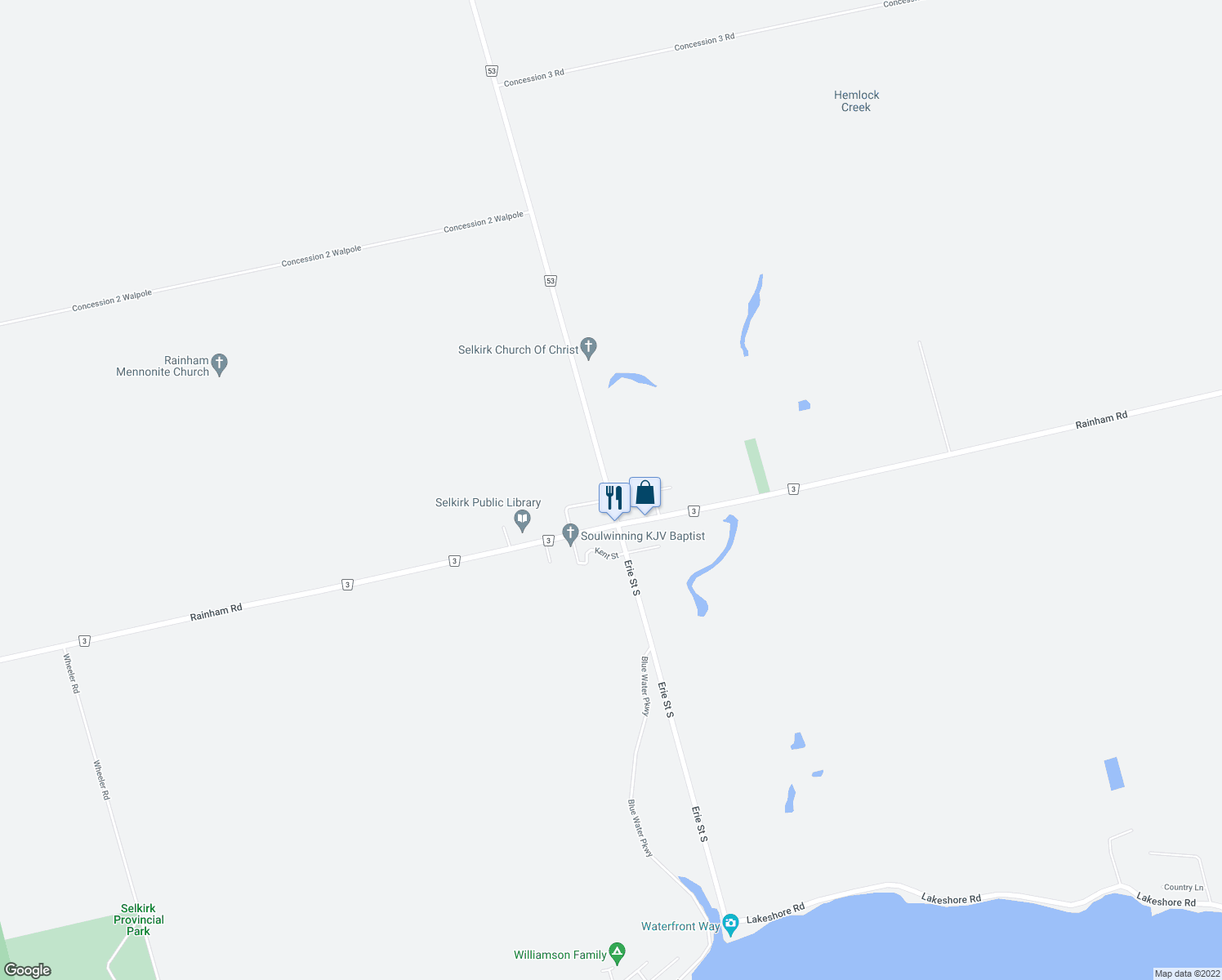 map of restaurants, bars, coffee shops, grocery stores, and more near 1 Park Street in Haldimand County