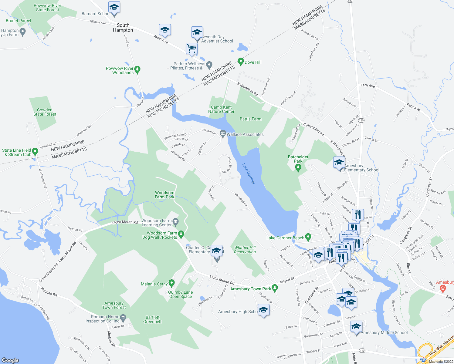 map of restaurants, bars, coffee shops, grocery stores, and more near 30 Glen Devin Street in Amesbury