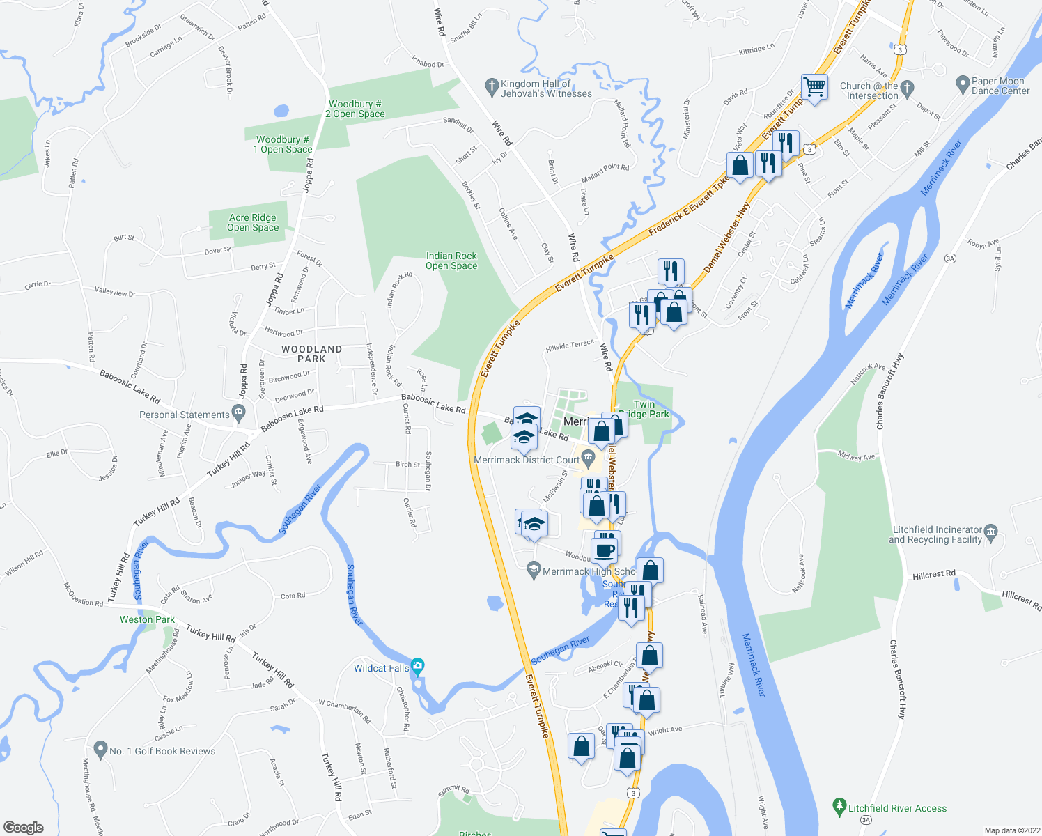 map of restaurants, bars, coffee shops, grocery stores, and more near 10 Killian Court in Merrimack