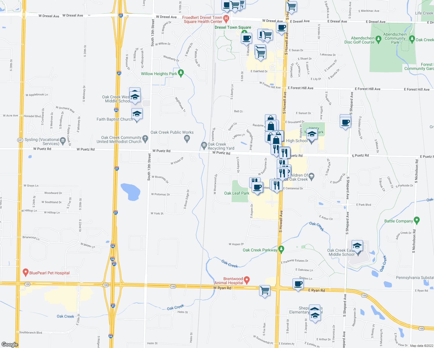 map of restaurants, bars, coffee shops, grocery stores, and more near 8821 S Wood Creek Dr in Oak Creek