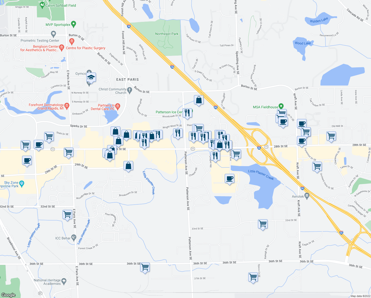 map of restaurants, bars, coffee shops, grocery stores, and more near 28th Street Southeast & Patterson Avenue Southeast in Grand Rapids