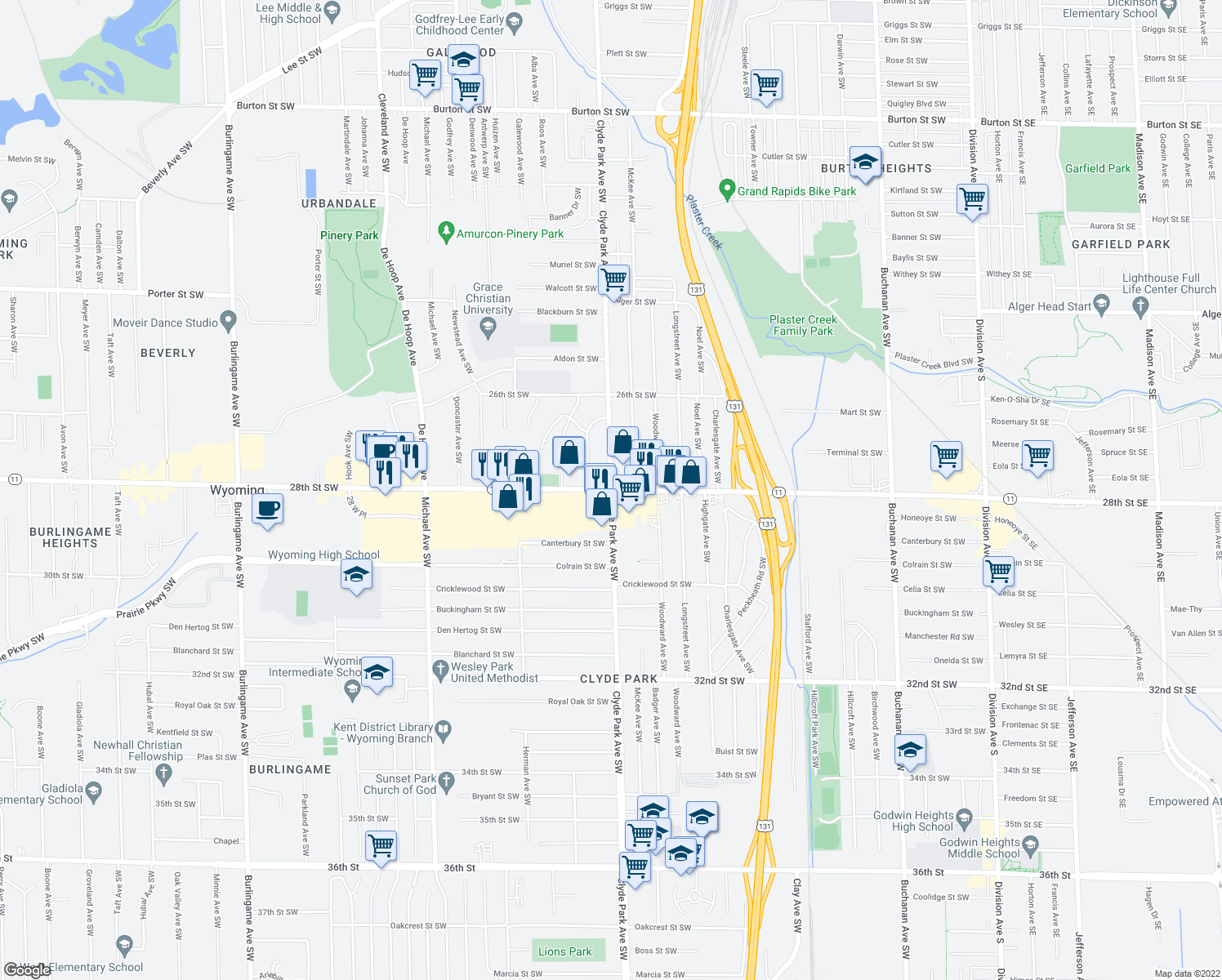 map of restaurants, bars, coffee shops, grocery stores, and more near 28th Street Southwest & Clyde Park Avenue Southwest in Wyoming