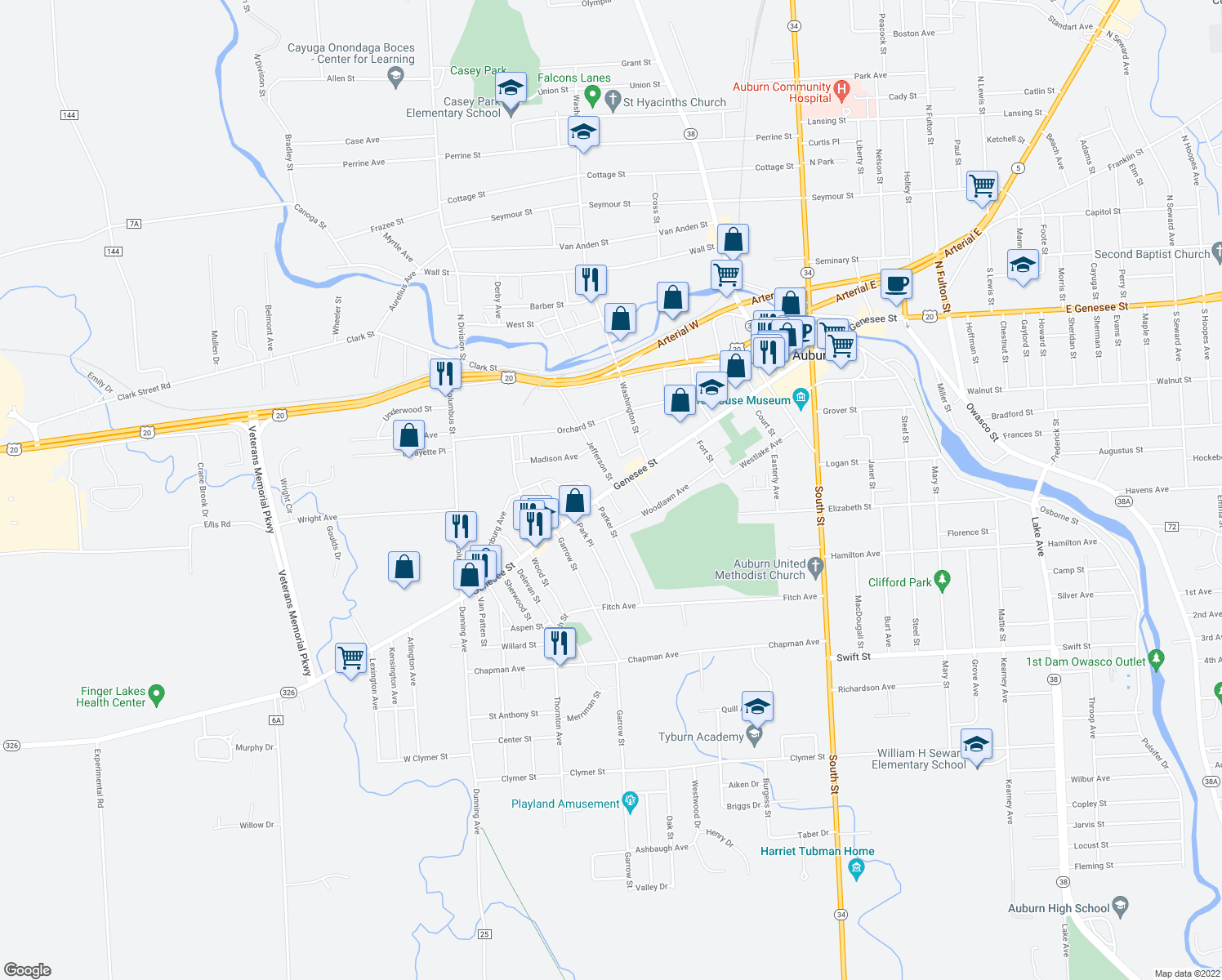 map of restaurants, bars, coffee shops, grocery stores, and more near 209 Genesee Street in Auburn
