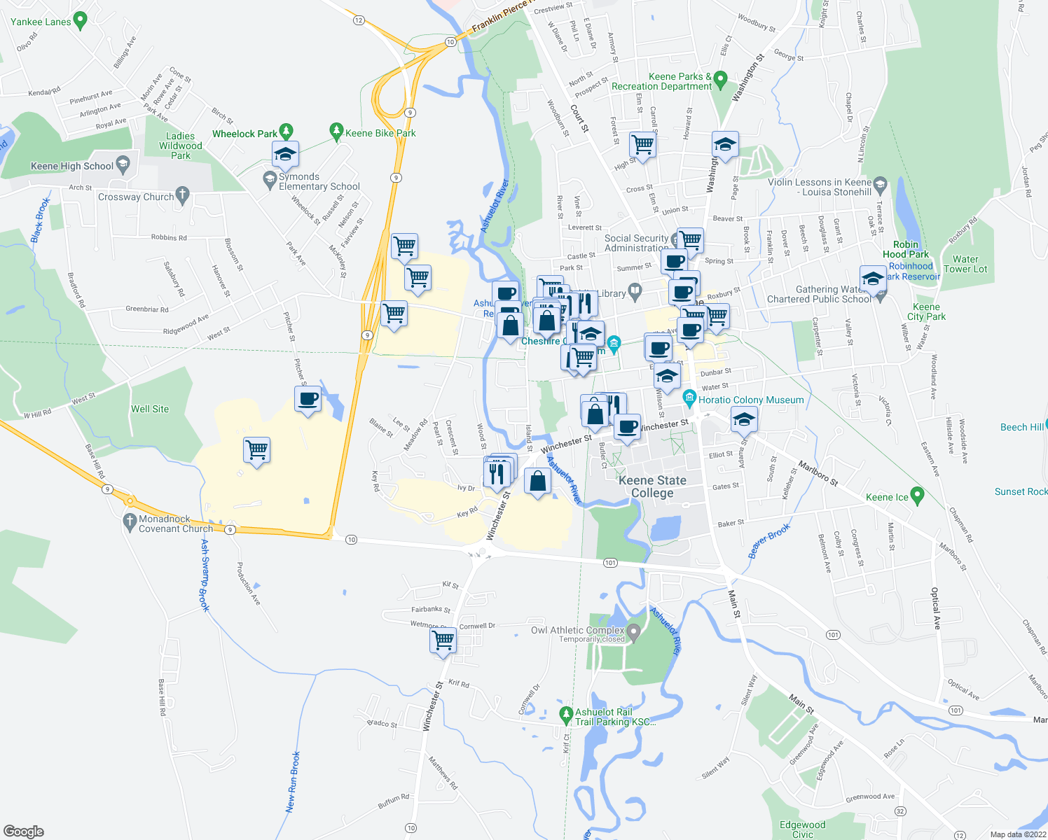 map of restaurants, bars, coffee shops, grocery stores, and more near 21 Speaker Street in Keene