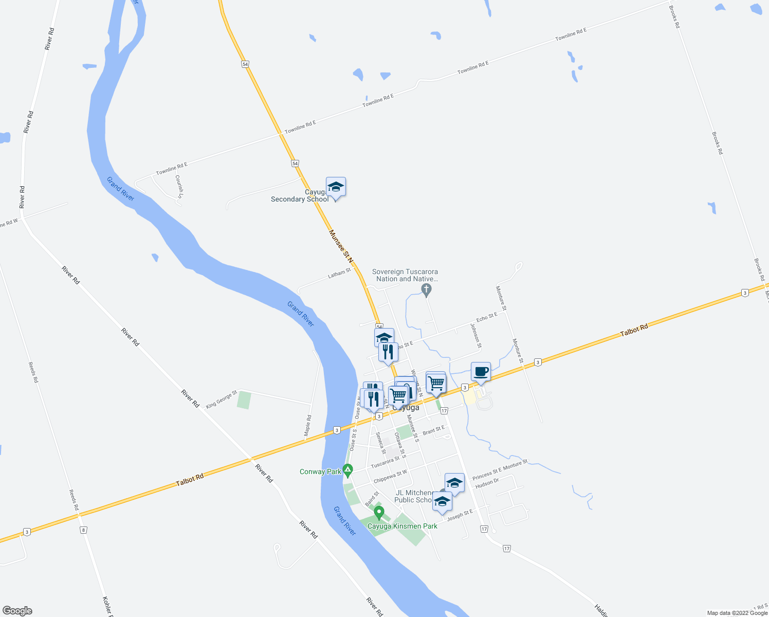 map of restaurants, bars, coffee shops, grocery stores, and more near Winnett Street North in Haldimand