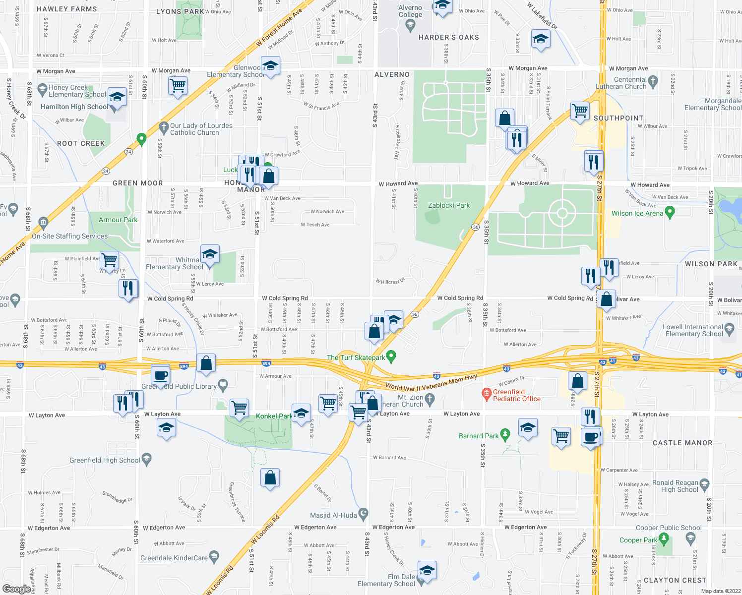 map of restaurants, bars, coffee shops, grocery stores, and more near South 43rd Street & West Cold Spring Road in Greenfield