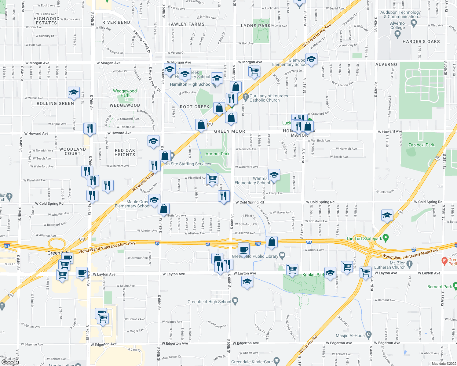 map of restaurants, bars, coffee shops, grocery stores, and more near 4141 South 60th Street in Greenfield