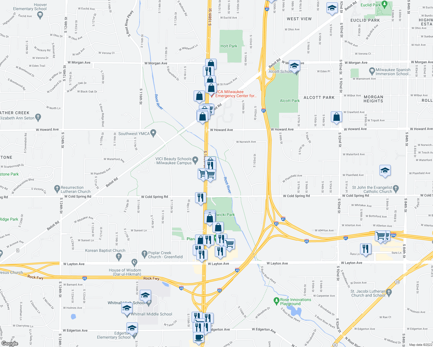 map of restaurants, bars, coffee shops, grocery stores, and more near 10720 West Howard Avenue in Greenfield