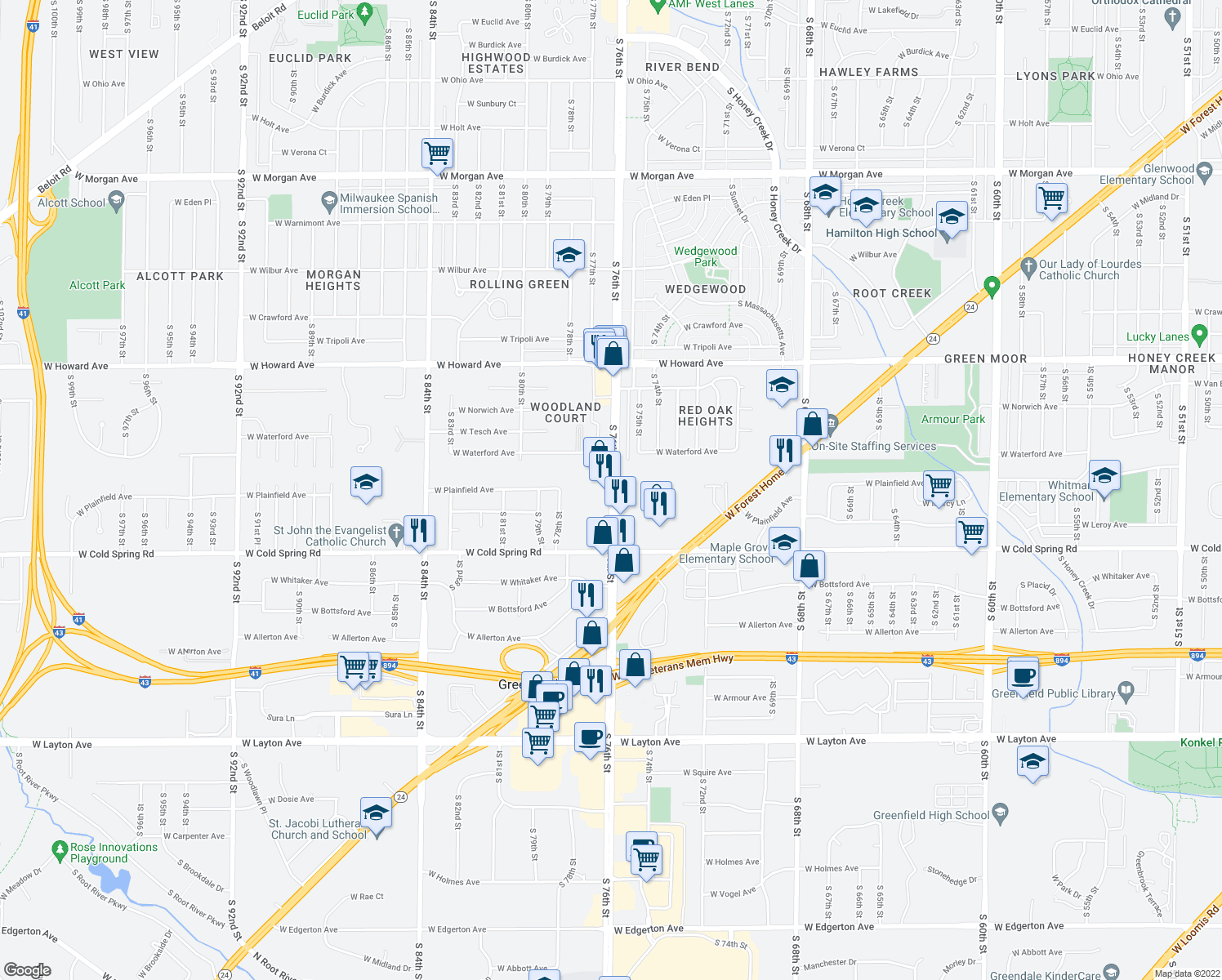 map of restaurants, bars, coffee shops, grocery stores, and more near South 76th Street in Greenfield