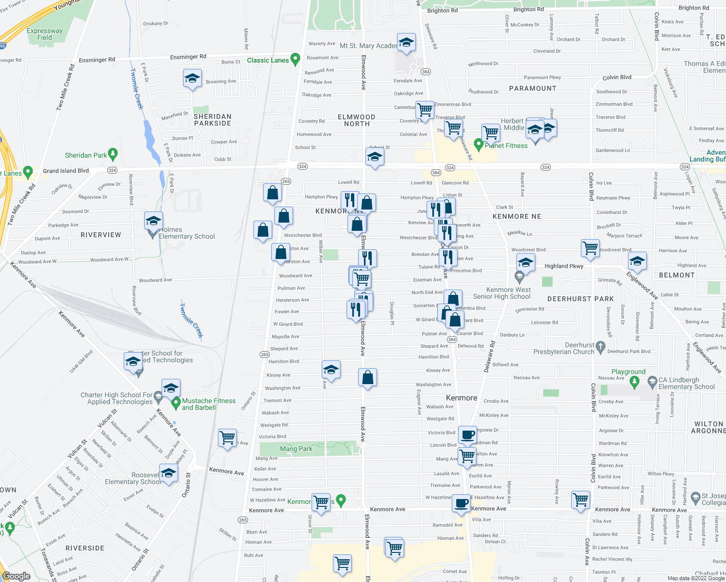 map of restaurants, bars, coffee shops, grocery stores, and more near 2864 Elmwood Ave in Kenmore