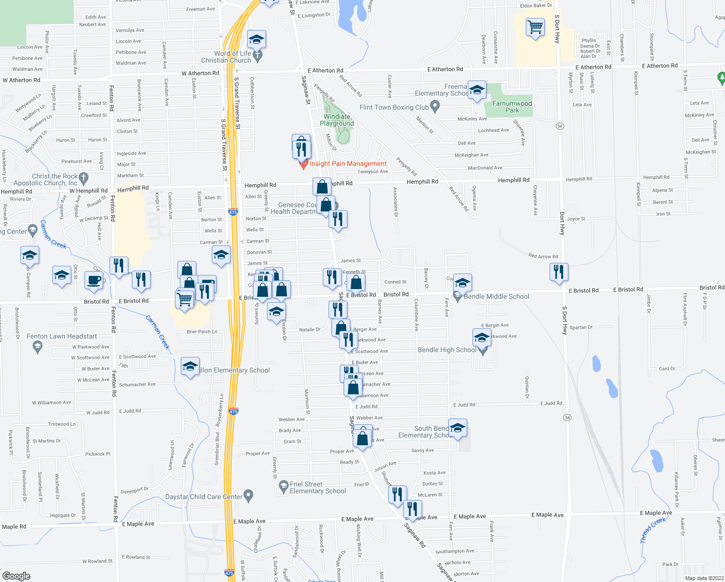 map of restaurants, bars, coffee shops, grocery stores, and more near 2053 East Bristol Road in Burton