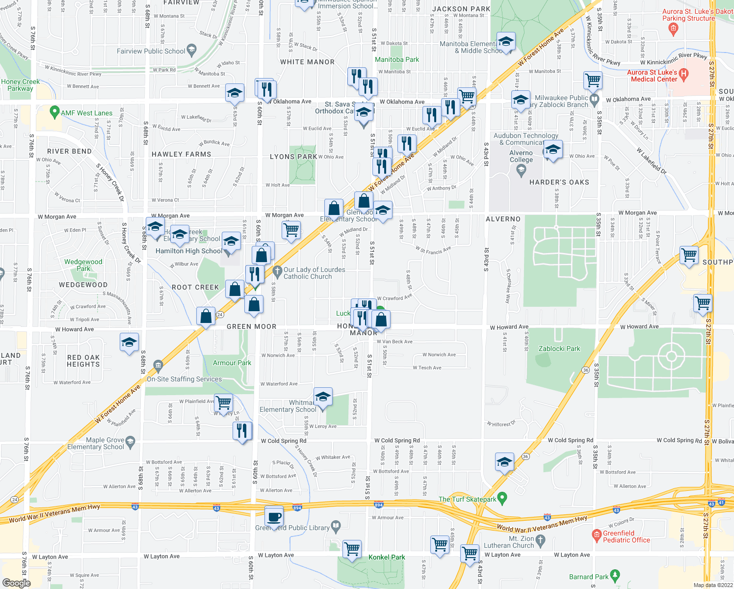 map of restaurants, bars, coffee shops, grocery stores, and more near 3771 South 51st Street in Milwaukee