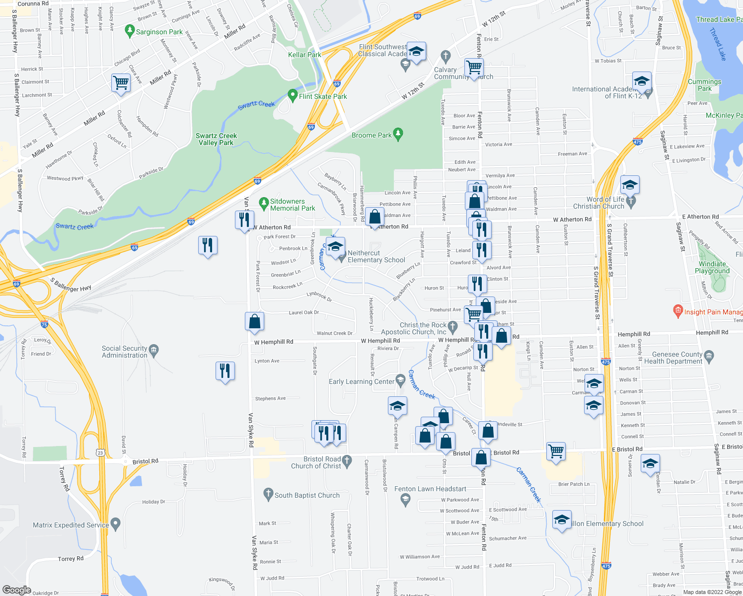 map of restaurants, bars, coffee shops, grocery stores, and more near 4317 Huckleberry Lane in Flint