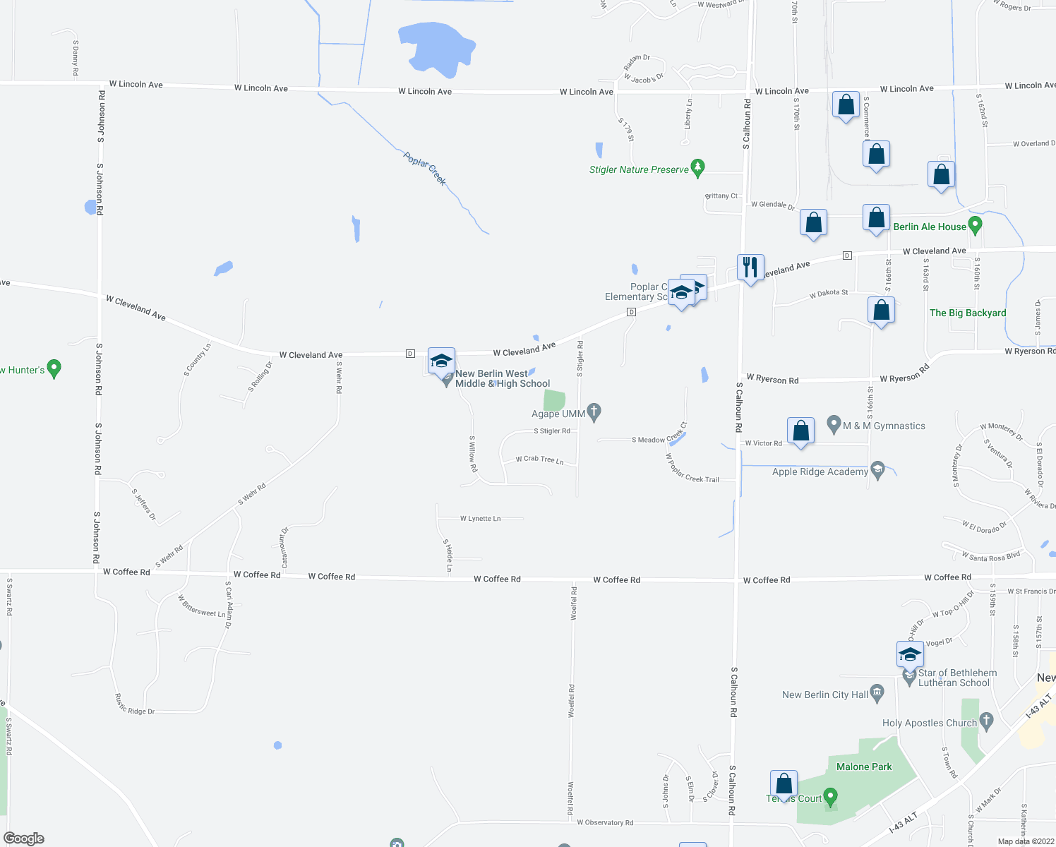 map of restaurants, bars, coffee shops, grocery stores, and more near 18260 West Thornapple Lane in New Berlin