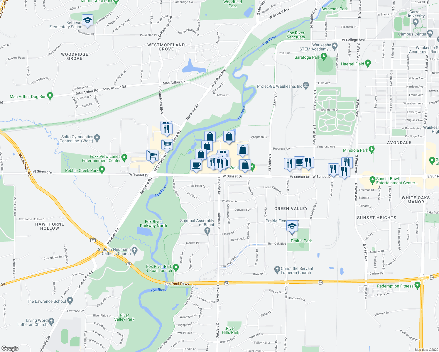 map of restaurants, bars, coffee shops, grocery stores, and more near Oakdale Drive & West Sunset Drive in Waukesha