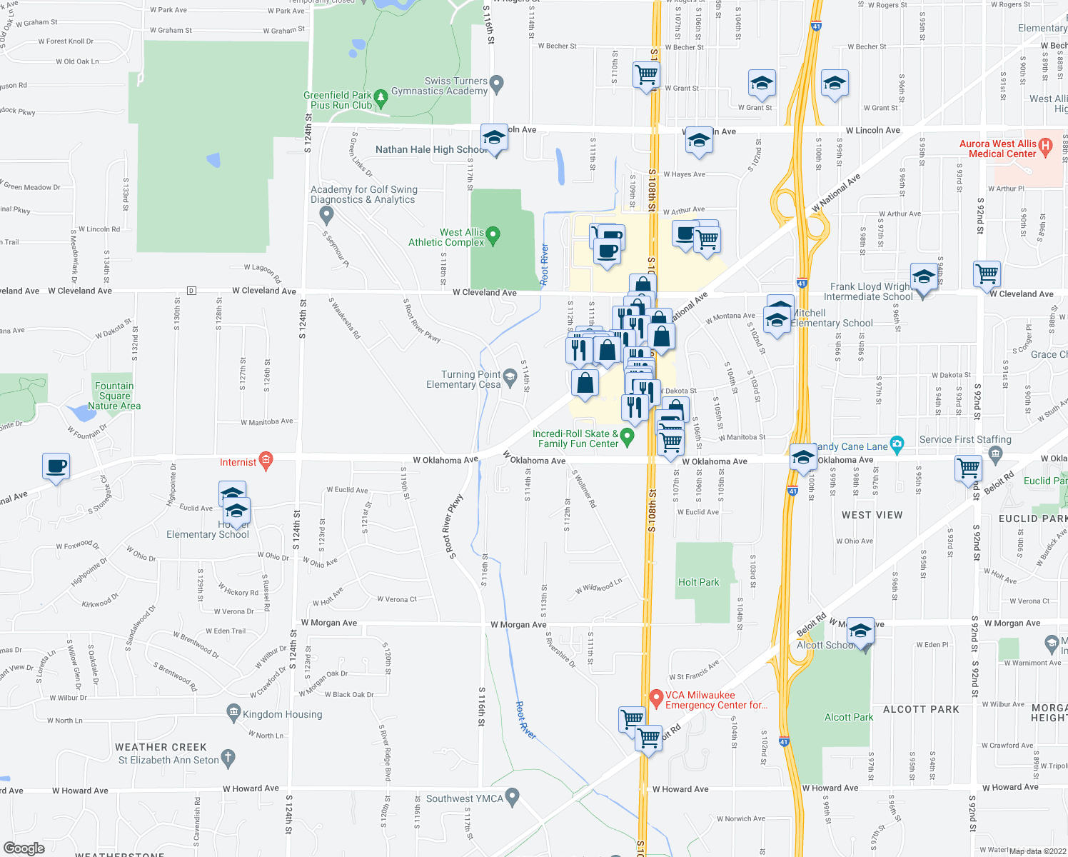 map of restaurants, bars, coffee shops, grocery stores, and more near 2970-2998 South Wollmer Road in West Allis