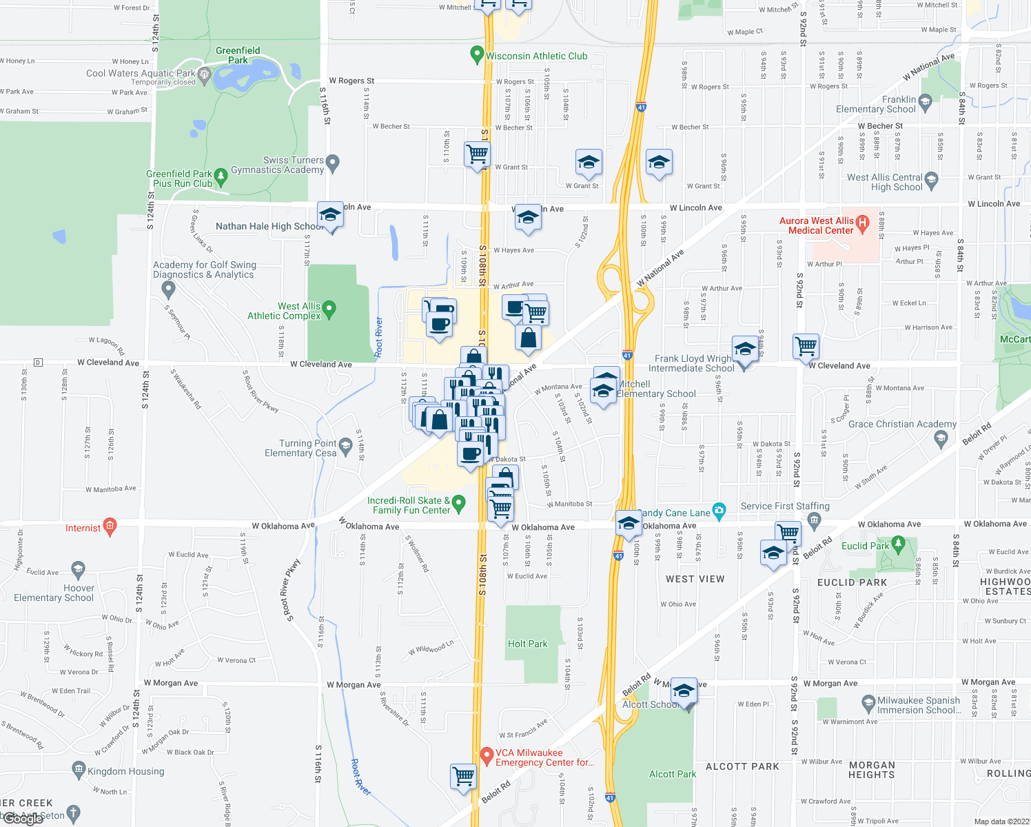 map of restaurants, bars, coffee shops, grocery stores, and more near 10472 West Montana Avenue in West Allis