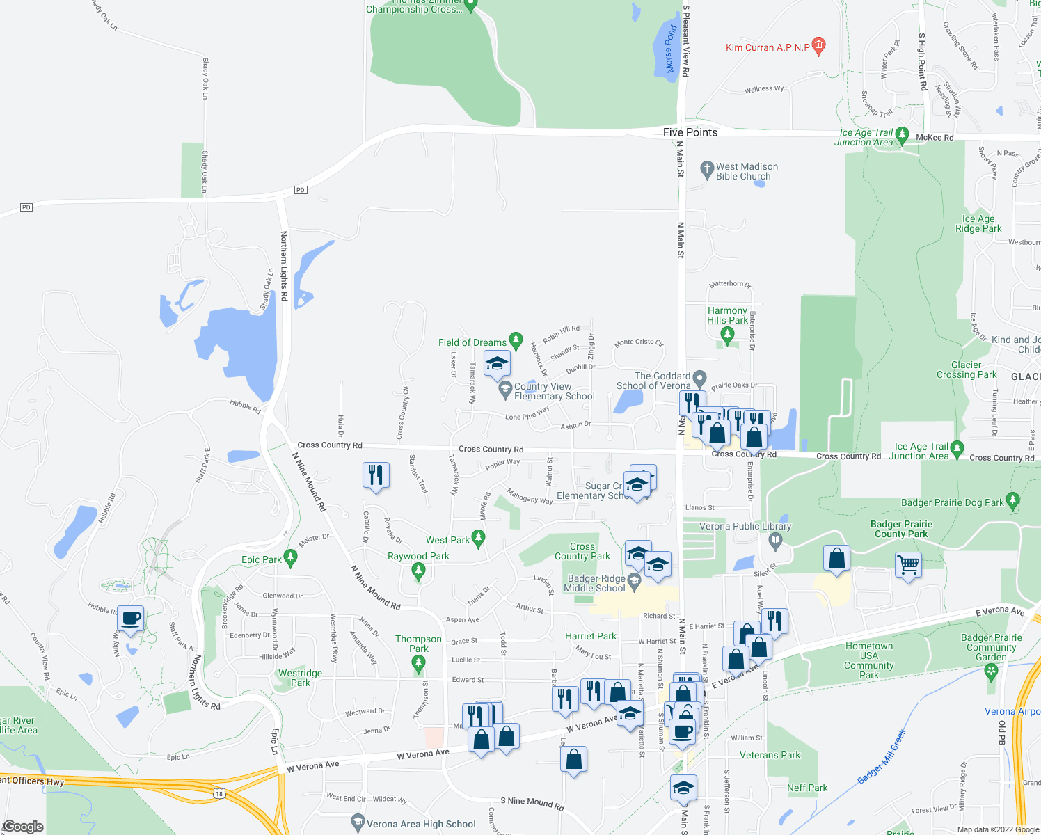 map of restaurants, bars, coffee shops, grocery stores, and more near 706 Lone Pine Way in Verona