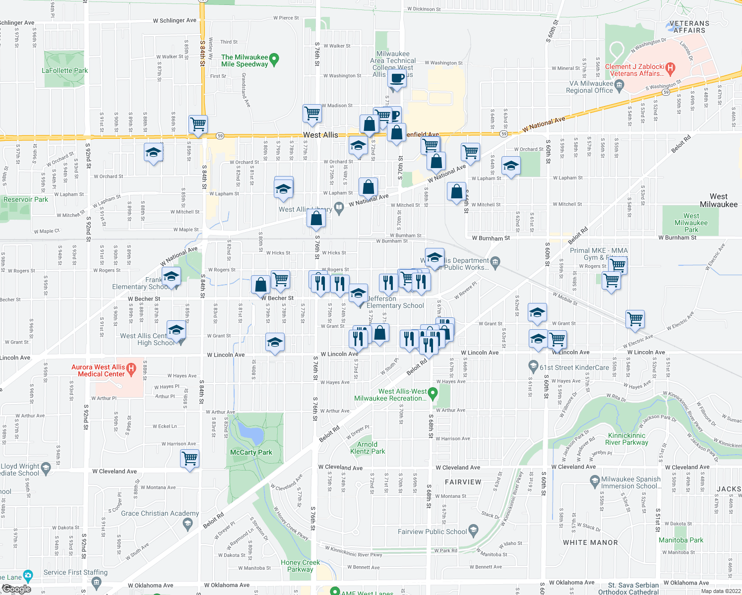 map of restaurants, bars, coffee shops, grocery stores, and more near West Becher Street & South 72nd Street in West Allis