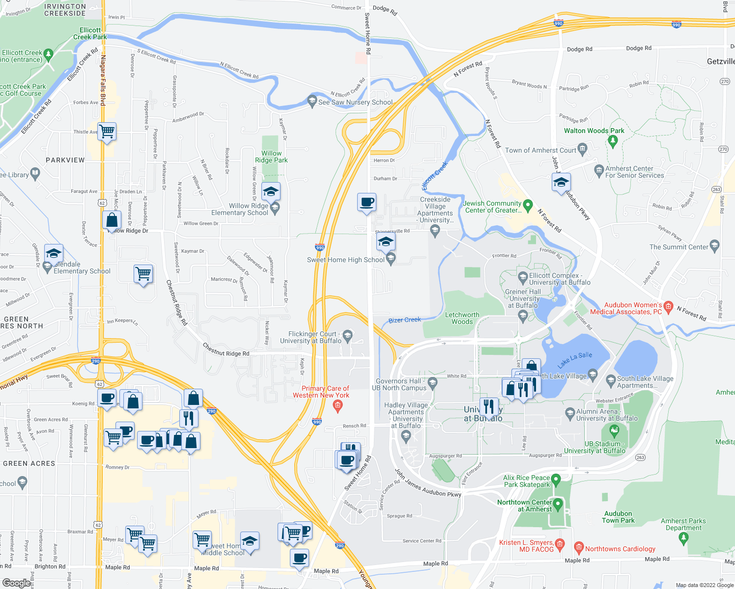 map of restaurants, bars, coffee shops, grocery stores, and more near 283 American Campus Dr in Amherst