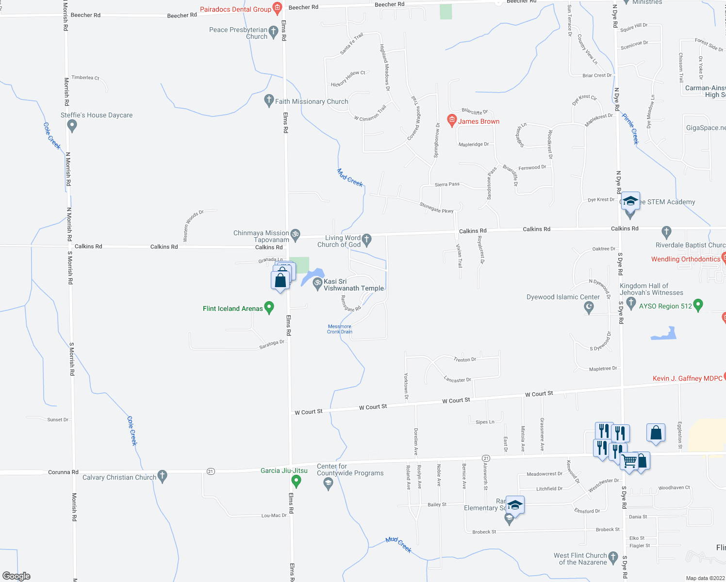 map of restaurants, bars, coffee shops, grocery stores, and more near 1171 Ramsgate Road in Flint